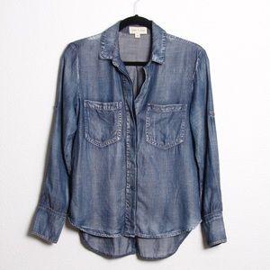 Cloth & Stone Distressed Split Back Denim Shirt XS